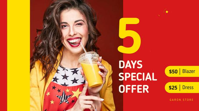 Plantilla de diseño de Drinks Offer Smiling Woman with Cup To-Go Full HD video