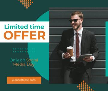 Social Media Day Offer Businessman with Tablet and Coffee