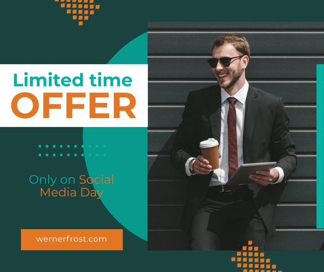 Social Media Day Offer Businessman with Tablet and Coffee Facebook Modelo de Design