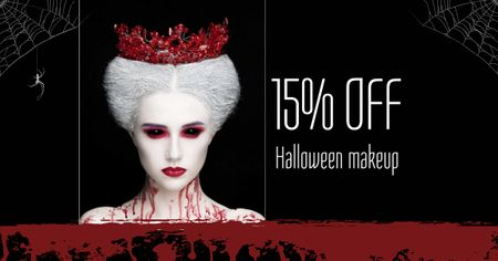Ontwerpsjabloon van Facebook AD van Halloween Makeup Offer with Scary Woman