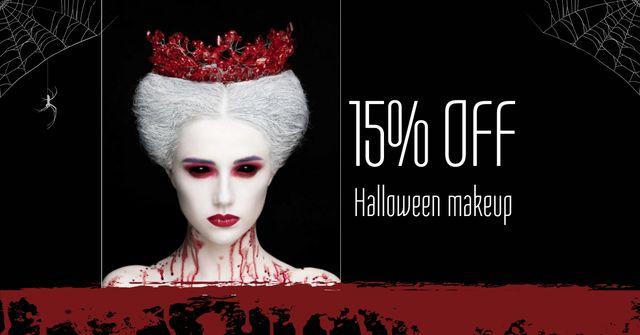 Plantilla de diseño de Halloween Makeup Offer with Scary Woman Facebook AD