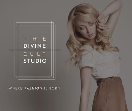 Fashion Studio Ad Blonde Woman in Casual Clothes Facebook Design Template