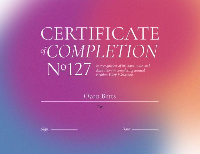 Fashion Course Completion Award Certificate – шаблон для дизайну