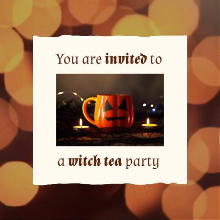 Halloween Party Announcement with Tea Cup and Candles Animated Post – шаблон для дизайна