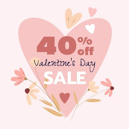 Valentine's Day sale with flowers Instagramデザインテンプレート