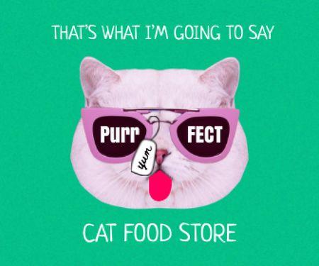 Modèle de visuel Funny Cute Cat in Sunglasses showing Tongue - Large Rectangle
