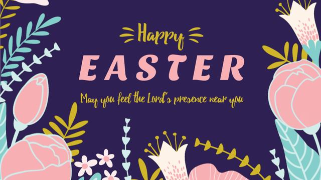 Easter Greeting with Flowers Full HD video Design Template