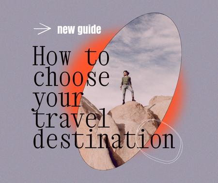 Travel inspiration with Man on Rock Facebook Design Template