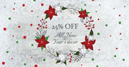 New Year Decor Offer in Festive Wreath Facebook AD – шаблон для дизайну