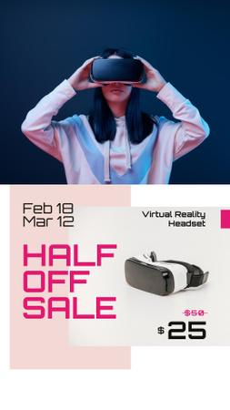 Plantilla de diseño de Gadgets Sale with Woman using VR Glasses Instagram Story