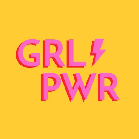 Girl Power Inspiration on yellow Logo Modelo de Design