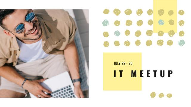 Plantilla de diseño de IT Meetup Announcement with Programmer using Laptop FB event cover