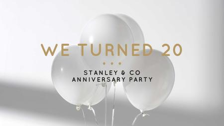 Modèle de visuel Balloons in White for Business anniversary - FB event cover
