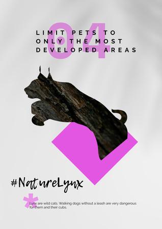 Modèle de visuel Fauna Protection with Wild Lynx Silhouette - Poster