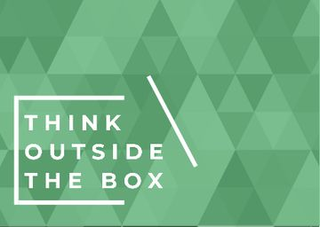 Think outside the box quote on green pattern