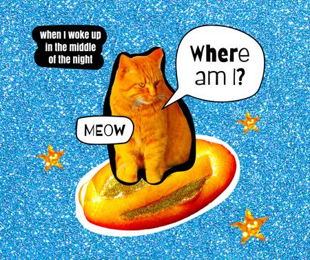 Plantilla de diseño de Funny Cat flying on Bread Facebook