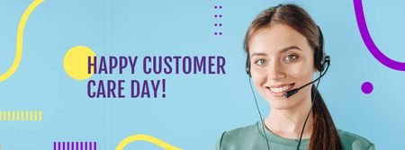 Customer Care Day Announcement with Female Consultant Facebook cover Modelo de Design