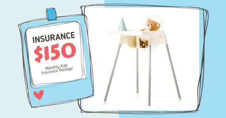 Ontwerpsjabloon van Facebook AD van Kids Insurance Offer with Child Chair