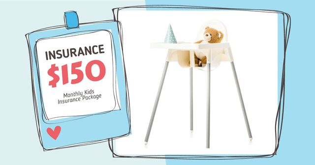 Kids Insurance Offer with Child Chair Facebook AD Modelo de Design