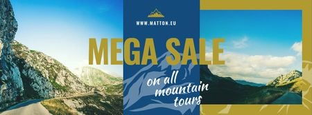 Ontwerpsjabloon van Facebook cover van Mountain Trip Sale with Scenic Mountain Road