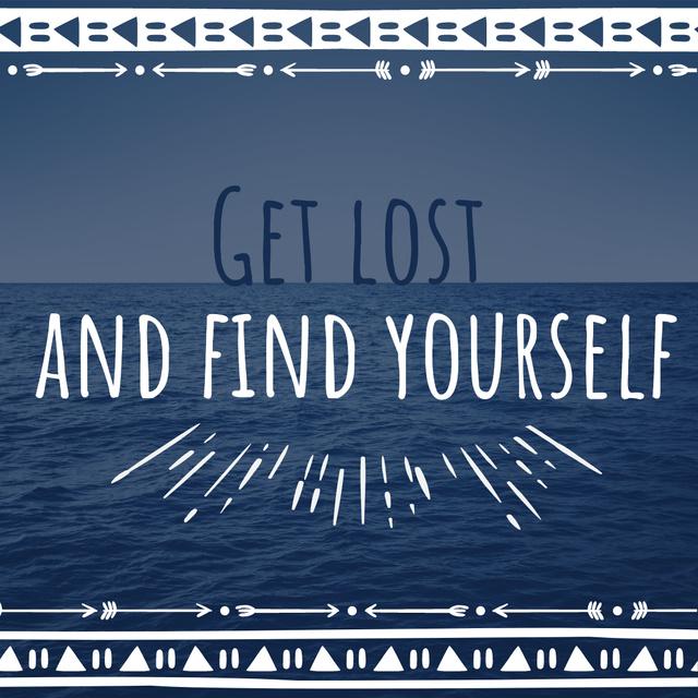 Designvorlage Motivational quote on sea view für Instagram AD