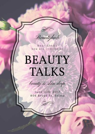 Beauty Event announcement on tender Spring Flowers Flayer Tasarım Şablonu