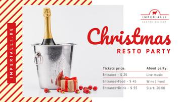 Christmas Party invitation Champagne and Gift