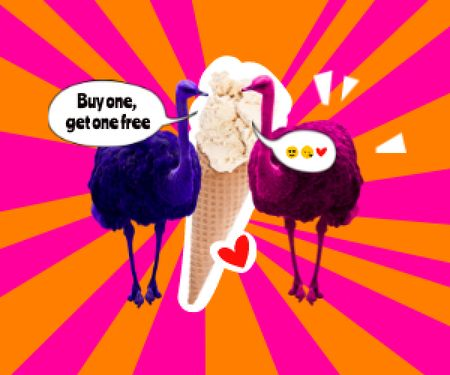 Funny Ostriches eating Big Ice Cream Medium Rectangle Modelo de Design