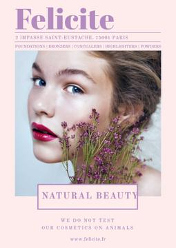 Natural cosmetics advertisement with Tender Woman