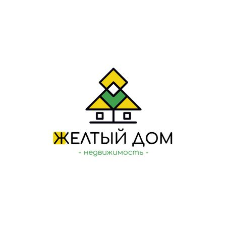 Real Estate Agency Ad with Building Icon in Yellow Logo – шаблон для дизайна