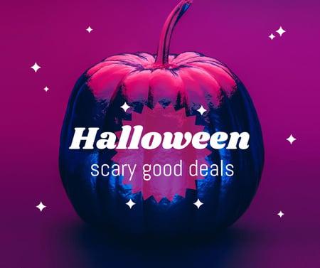 Modèle de visuel Halloween Store Offer with Bright Pumpkin - Facebook