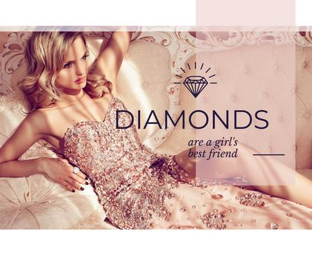 Plantilla de diseño de Jewelry Ad with Woman in shiny dress Facebook