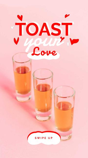 Love Quote Glasses with Drinks Instagram Video Story Design Template
