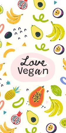 Modèle de visuel Vegan Lifestyle Concept with Fresh Fruits illustration - Graphic