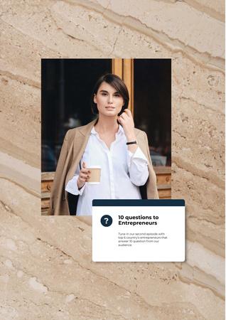 Designvorlage Woman Entrepreneur with coffee für Poster