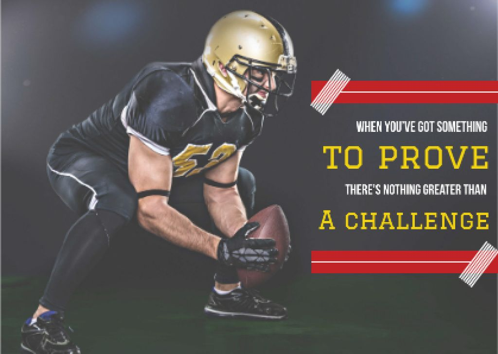Motivational sports Quote with American Football Player — Создать дизайн