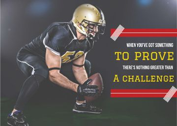 Motivational sports Quote with American Football Player