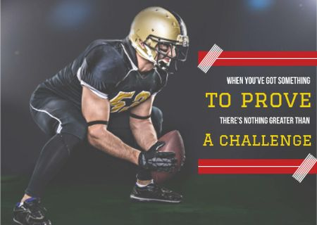 Template di design Motivational sports Quote with American Football Player Postcard