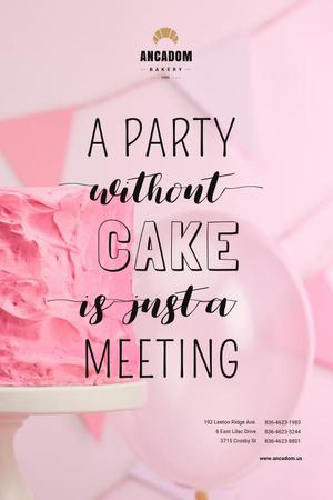 Party Organization Services with Cake in Pink Pinterest Design Template