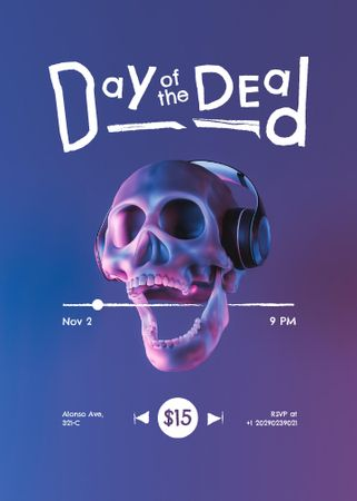 Day of the Dead Announcement with Skull in Headphones Invitation – шаблон для дизайна
