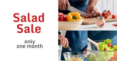 Salad sale with Chef Cutting Vegetables Facebook AD Modelo de Design