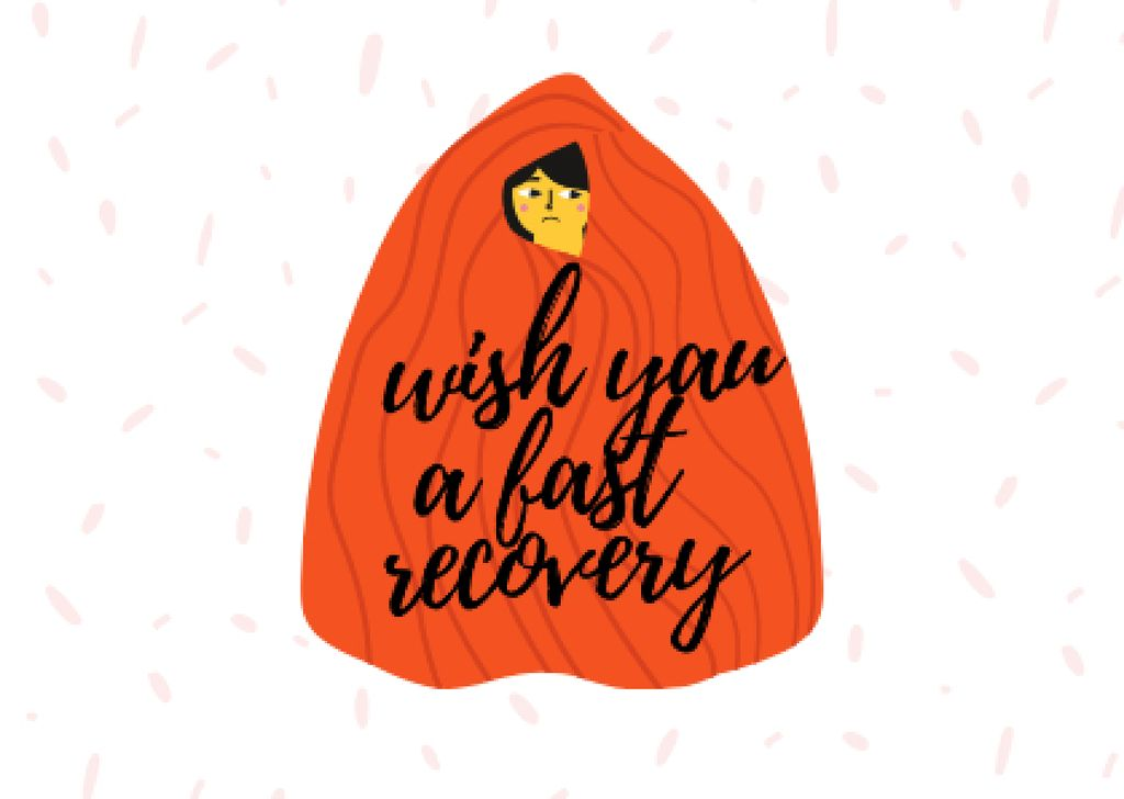 Cute Get Well Wish with Girl hiding in Blanket Cardデザインテンプレート