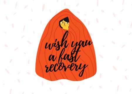 Plantilla de diseño de Cute Get Well Wish with Girl hiding in Blanket Card