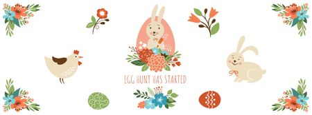Cartoon Easter bunny with chicken and flowers Facebook Video cover Tasarım Şablonu