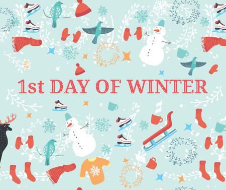Plantilla de diseño de First Day of Winter Greeting with seasonal attributes Facebook