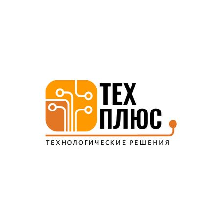 Tech Solutions Ad with Wires Icon in Orange Logo – шаблон для дизайна