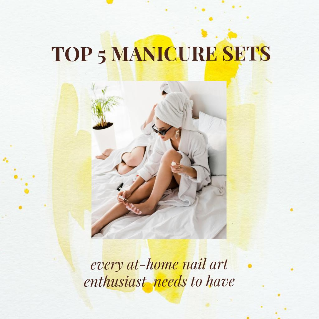 Manicure Sets Ad with Woman painting nails at Home — Modelo de projeto