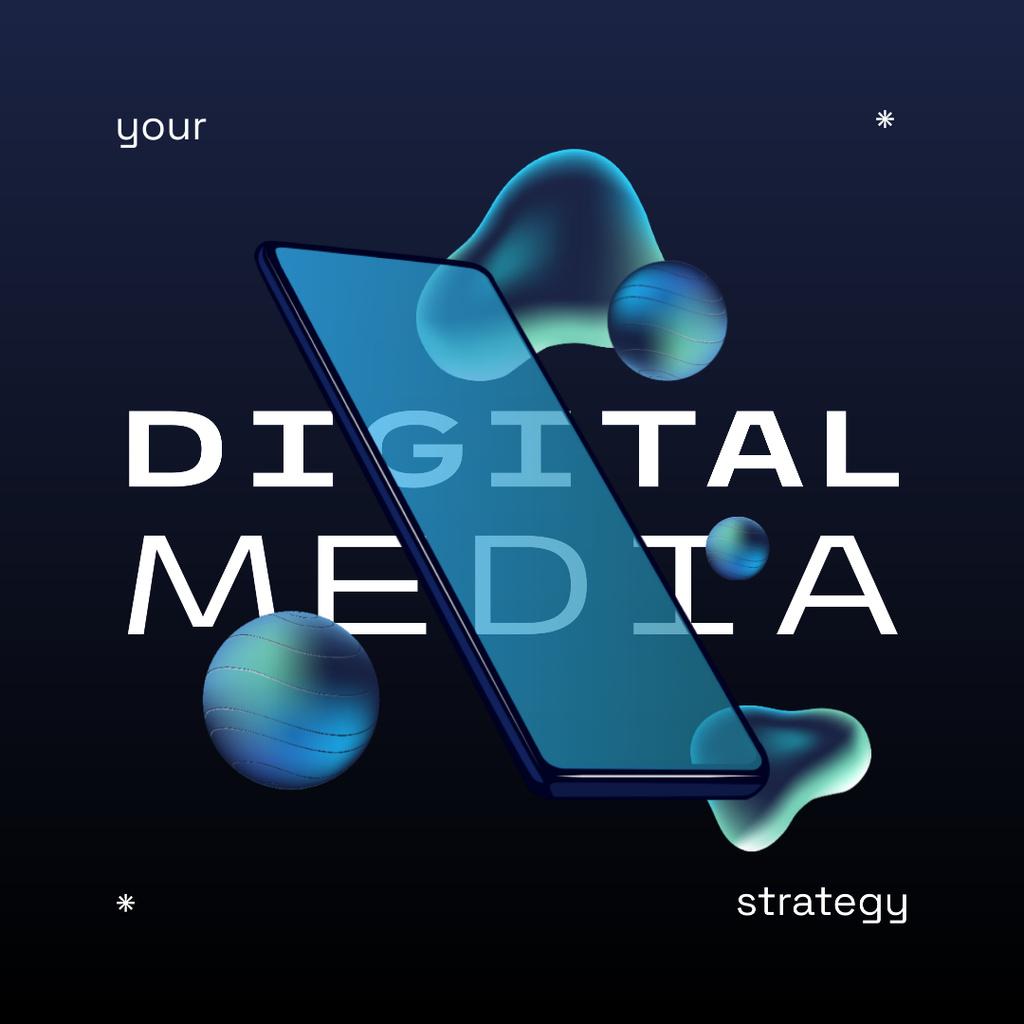 Designvorlage Digital Media Strategy with Modern Smartphone für Instagram