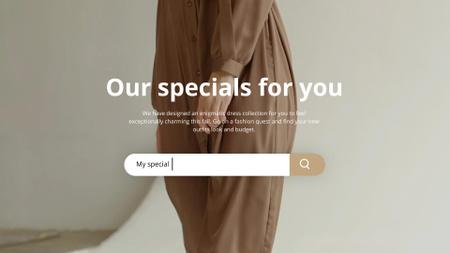 Designvorlage Fashion Sale Woman Wearing Dress in Brown für Full HD video