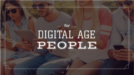 Plantilla de diseño de Young people with Gadgets Title